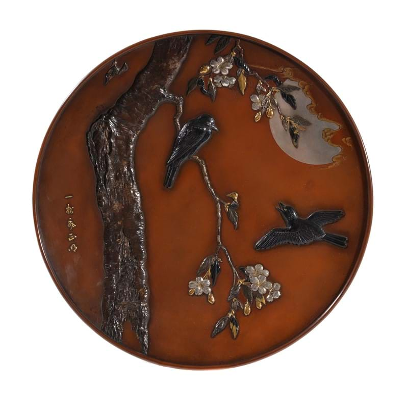 A large Japanese red-bronze dish, Meiji period