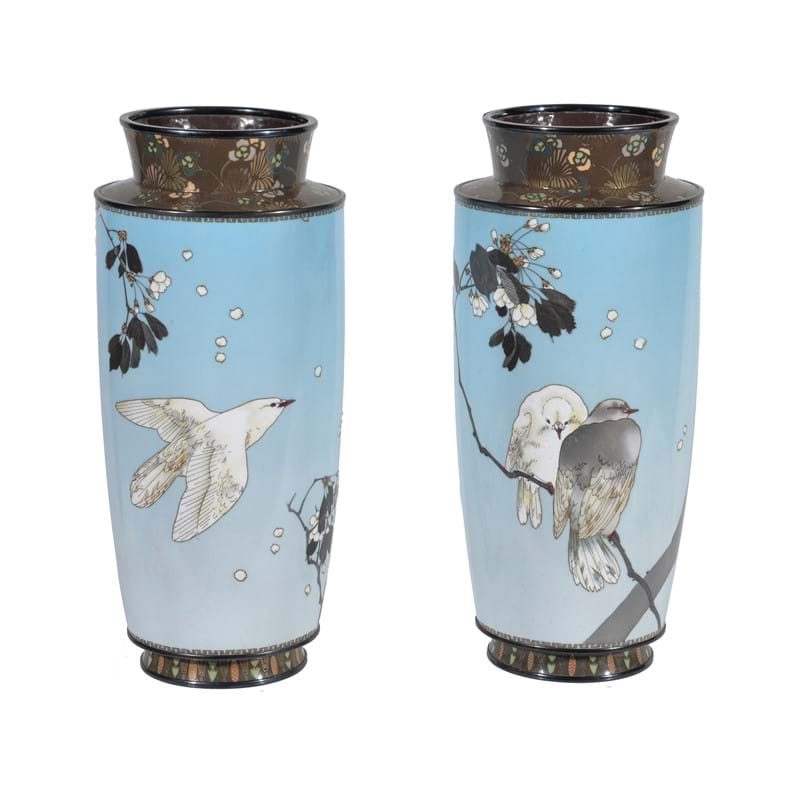 Manner of Namikawa Sosuke: a pair of silver wire cloisonné enamel vases, Meiji period
