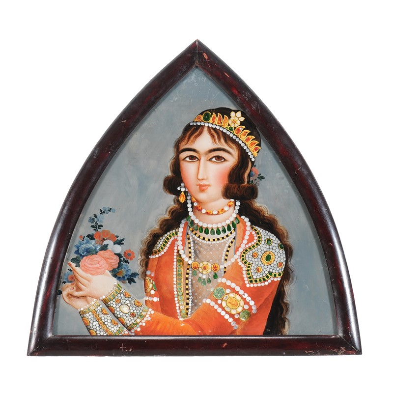 A Qajar glass painting of a lady, Persia, 19th century