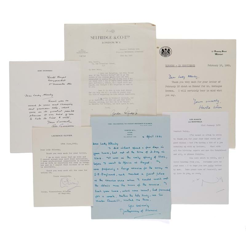 Large collection of letters and cards signed by prominent politicians, entrepreneurs, actors, playwrights, musicians and conductors, addressed to the Viscountess Allenby