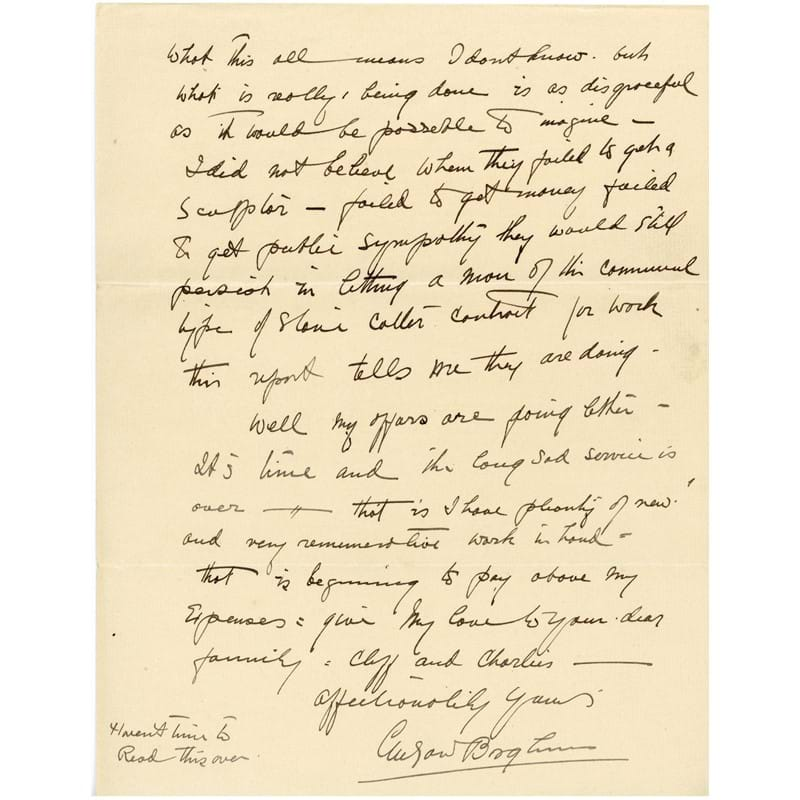 Autograph letter signed ('Gutzon Borglum') addressed to collaborator Jesse Gove Tucker, discussing Borglum's work at Mount Rushmore