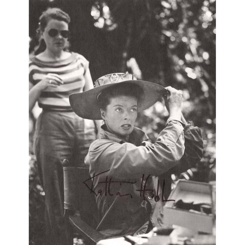 Black and white photograph of Katharine Hepburn on the set of 'The African Queen', signed 'Katharine Hepburn', 1951