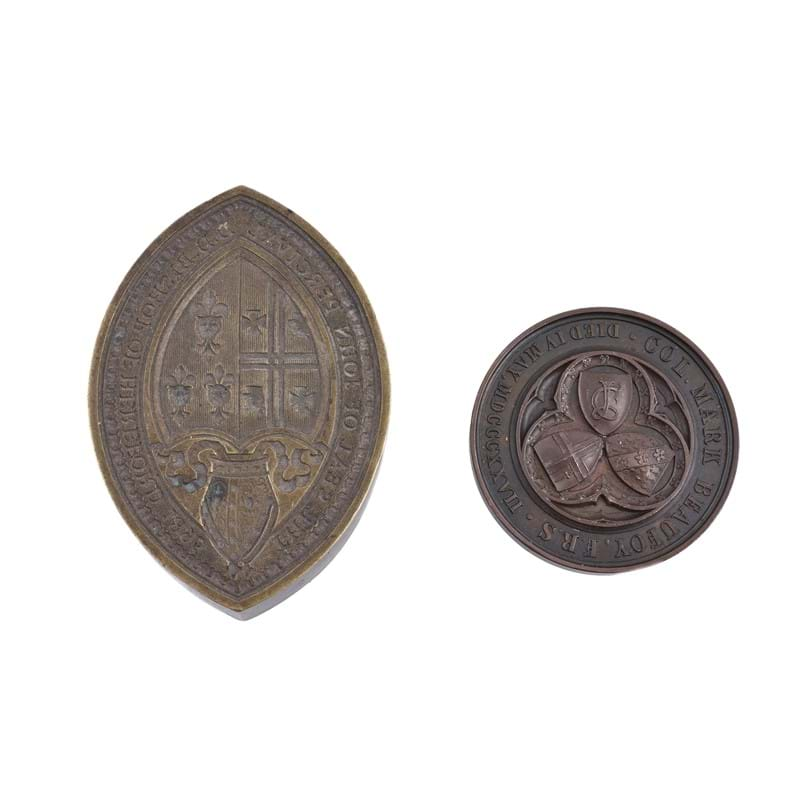 City of London School, Col. Mark Beaufoy, mathematical proficiency bronze prize medal, 1843; a brass seal matrix for John Percival, Bishop of Hereford, 1895