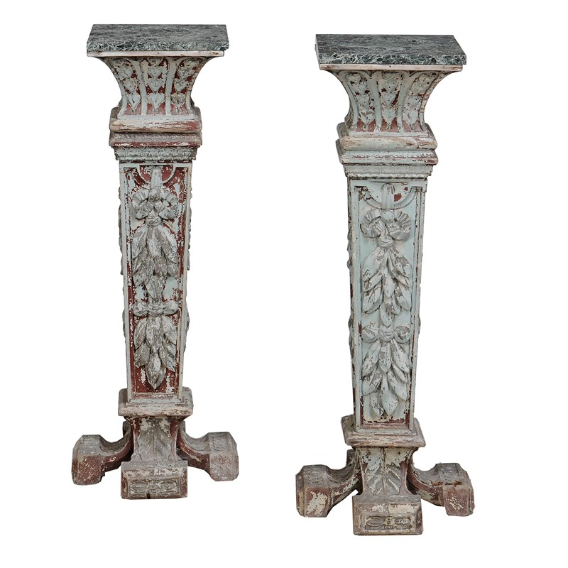 A pair of green painted pedestals, Italian, late 19th century | The Collection of the late Ian Askew