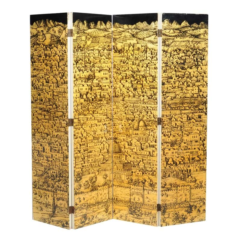 Piero Fornasetti (1913-1988), Jerusalem, a four-fold lacquer screen