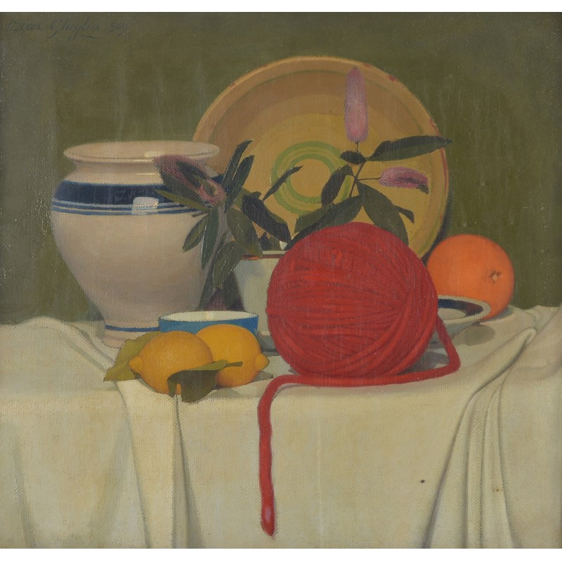 Oscar Ghiglia (Italian 1876-1945), Still life with lemons and wool, oil on canvas
