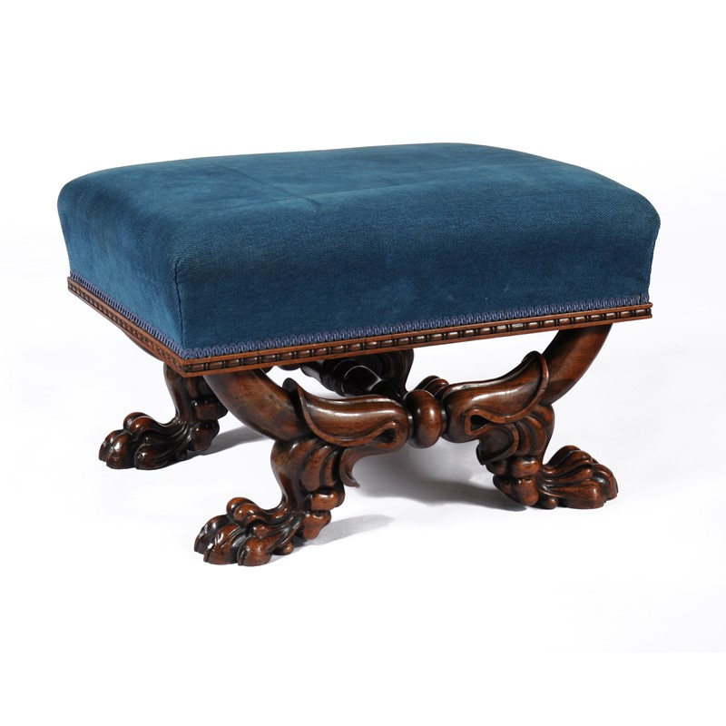 A George IV solid rosewood centre stool, circa 1825, in the manner of Marsh & Tatham