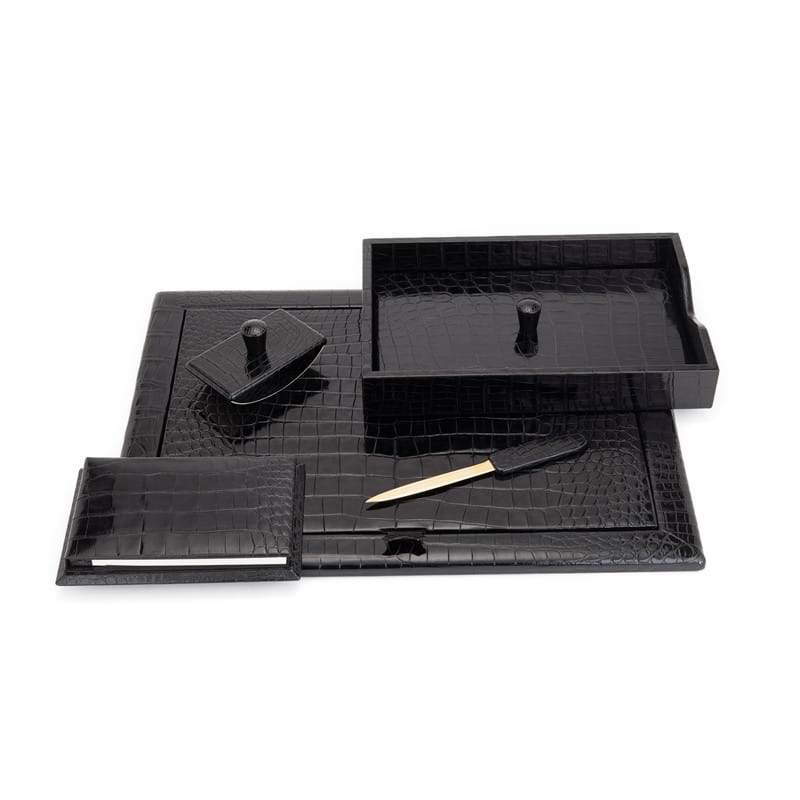 Asprey, a black alligator desk set