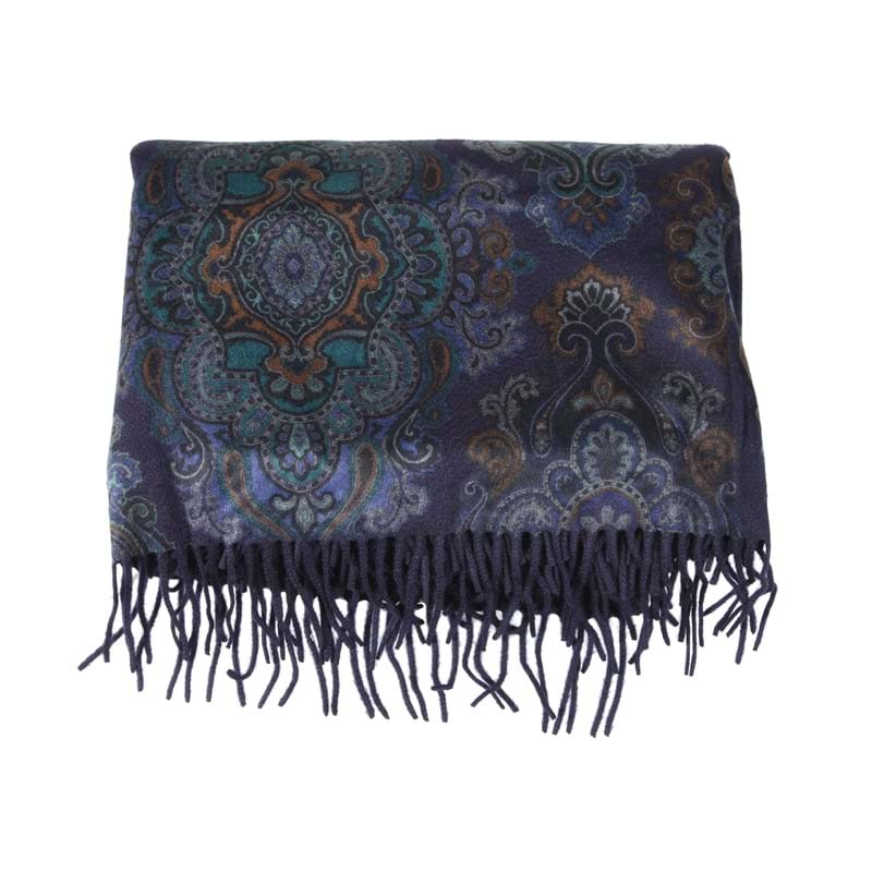 Asprey, a cashmere shawl by Loro Piana, the dark blue ground with multi-coloured foliage design