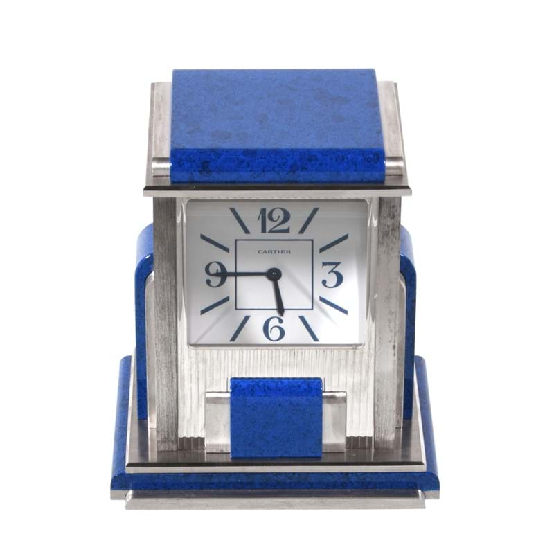 Cartier, Mystery Prism, an Art Deco style electro-plated and simulated lapis lazuli desk clock