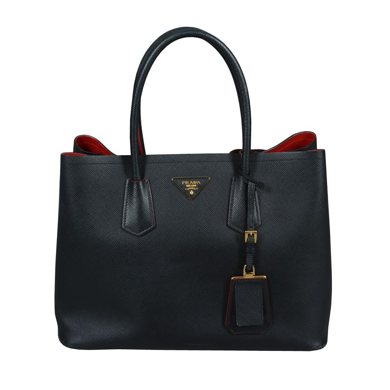 Prada, Double Bag, a black Saffiano leather handbag