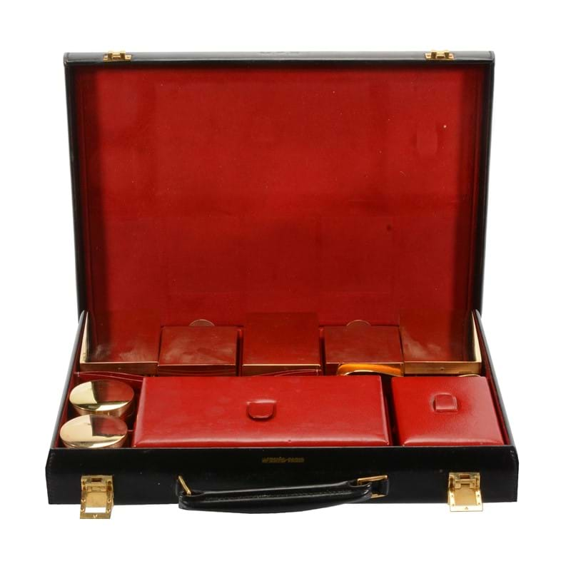 Hermès, a black leather travelling case