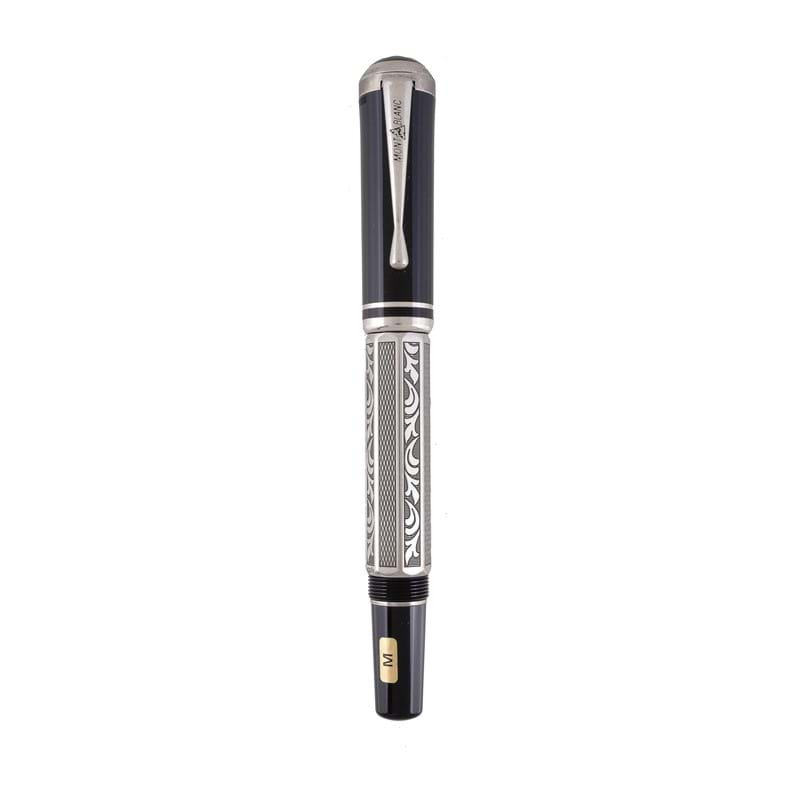 Montblanc, Writer's Edition, Marcel Proust, a limited edition, silver coloured and black lacquer fountain pen, circa 1999
