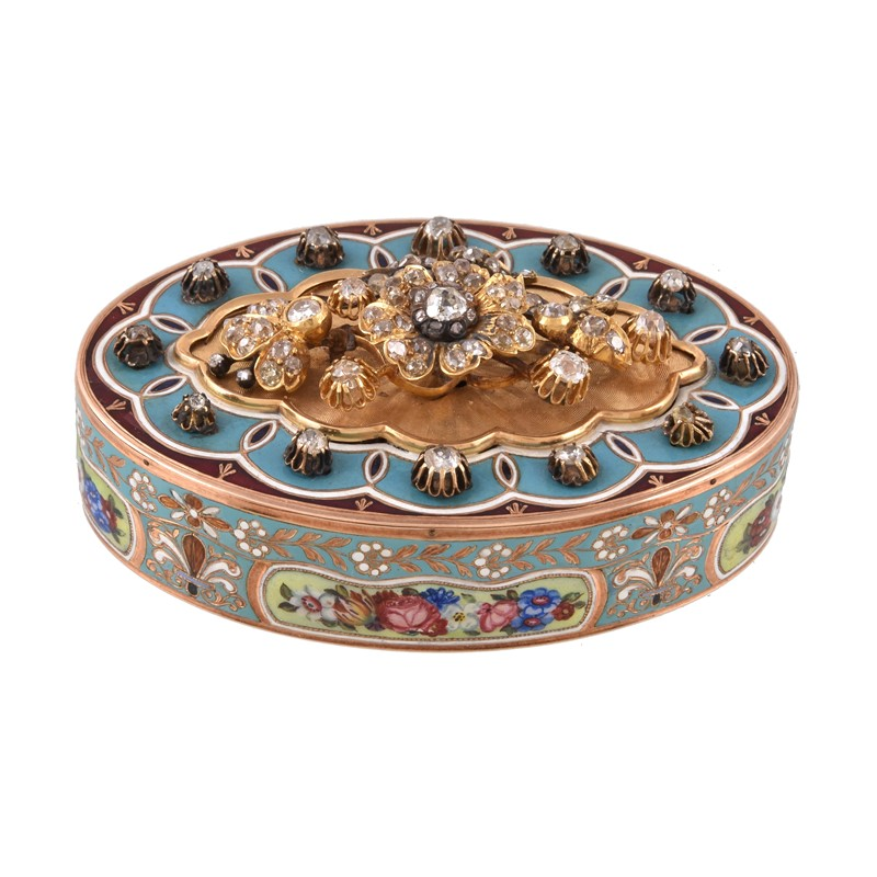 A Continental gold, enamel and diamond set oval snuff box, unmarked, mid 19th century