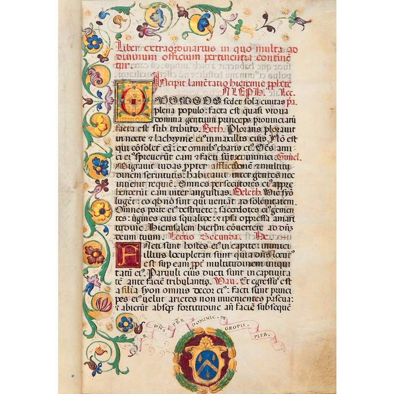 'Liber Extraordinarius', a Festal Lectionary with Invitatories and Antiphons, in Latin, illuminated manuscript on parchment, [Italy (Milan), dated 1546]