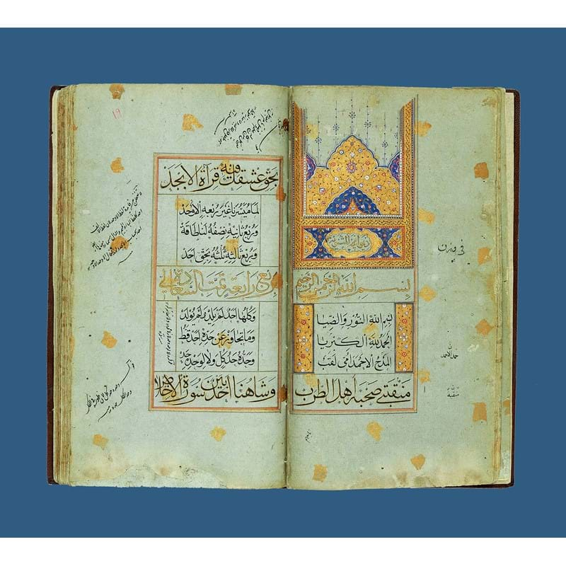 Divan of Poetry, written in Arabic, illuminated manuscript on blue paper speckled with goldn [Safavid Persia (probably Isfahan) second quarter of sixteenth century]