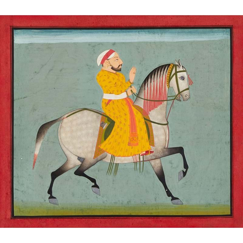 A set of four studies on Royal horses, possibly specimens from the stables of Maharana Ari Singh, illuminated paintings on paper, Mewar School [India (probably Udaipur, Rajasthan), c. 1780 AD]