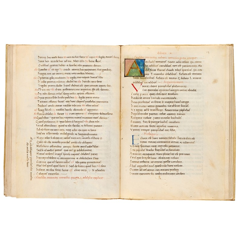 Terence, Comoediae, in Latin, illuminated humanist manuscript on paper and parchment [Italy (probably Florence), dated 4 April 1446]