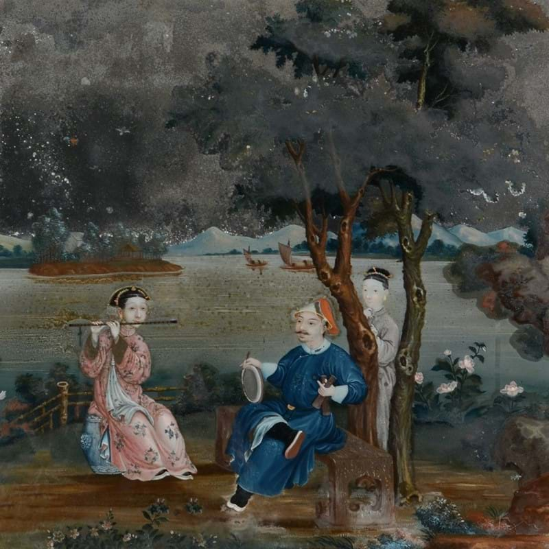 A Chinese export mirror painting, circa 1770, depicting a family group