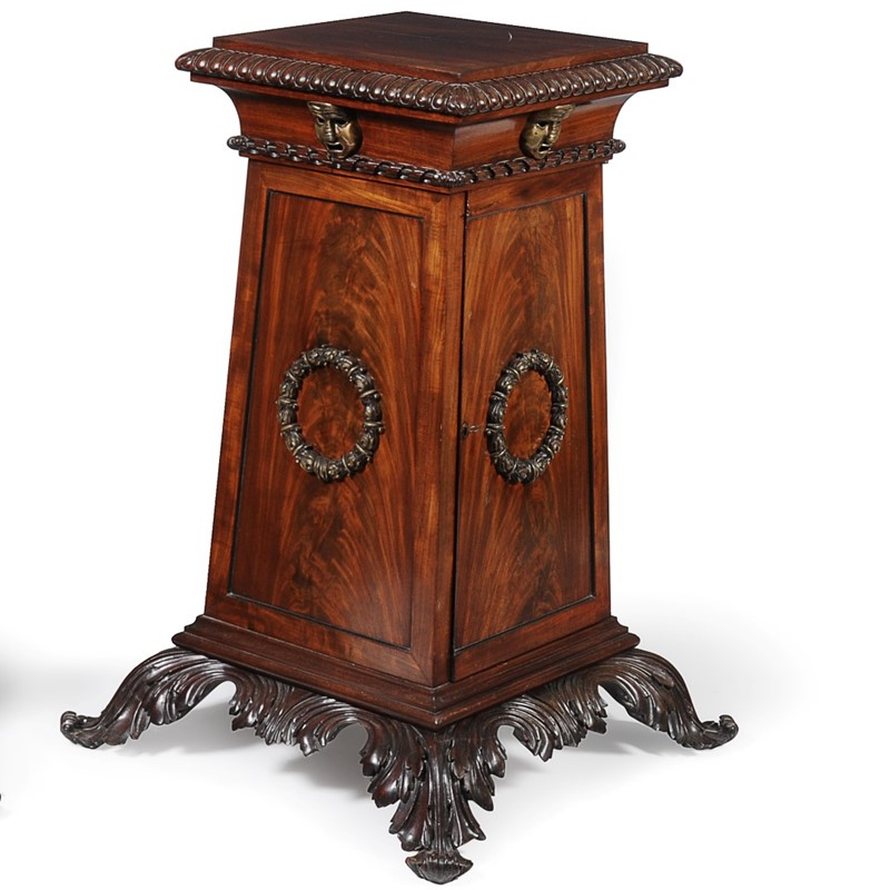 One of a pair of Regency mahogany pedestals, circa 1815; provenance: Private Collection, London