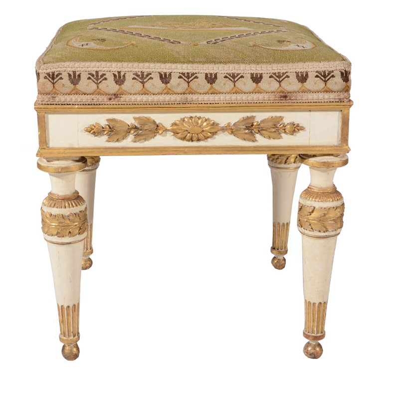 One of a pair of North Italian Piedmontese cream painted and parcel gilt stools, circa 1790 | Abbotswood, Gloucestershire: Selected Contents