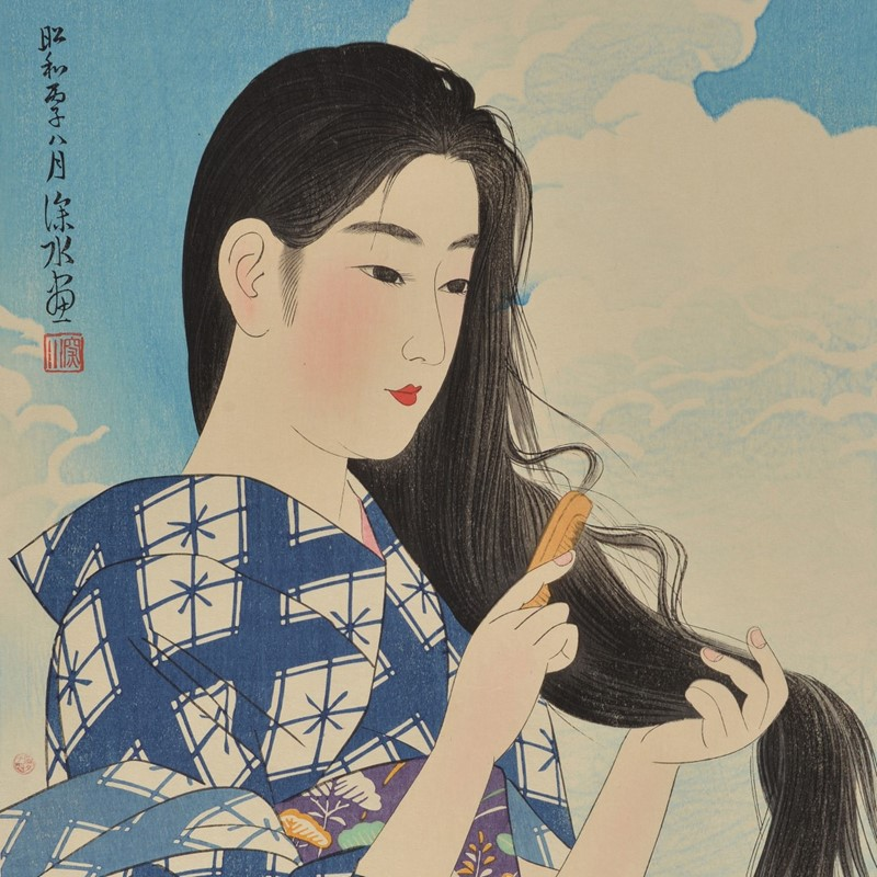 Ito Shinsui (1898-1972), a woodblock print entitled 'After washing her hair', in inks and colours on paper