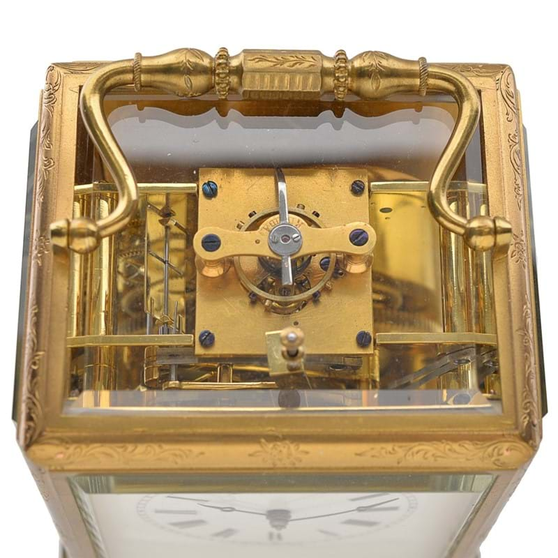 A fine French engraved gilt brass carriage clock with push-button repeat and chronometer escapement, Gontard and Bolviller, Paris, circa 1840-50