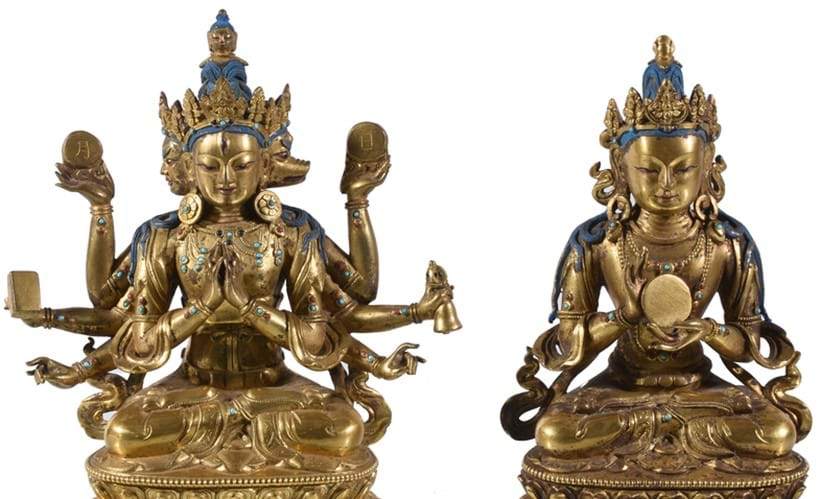 Inline Image - Two Sino-Tibetan bronze figures, China or Tibet, 18th century or later, both seated in padmasana on a lotus throne, est. £2,000-3,000, sold for £74,400