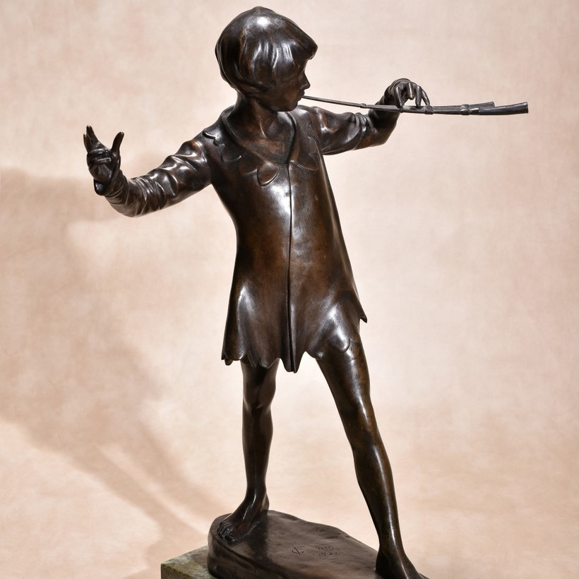 Inline Image - Sir George James Frampton RA. (1860-1928), Patinated bronze model of Peter Pan, dated 1921; sold for £12,400