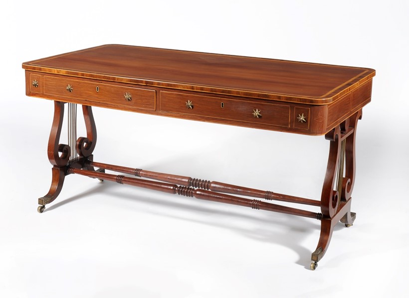 Inline Image - A Regency patridgewood and satinwood crossbanded library table, circa 1815, est. £4,000-6,000 (+fees)