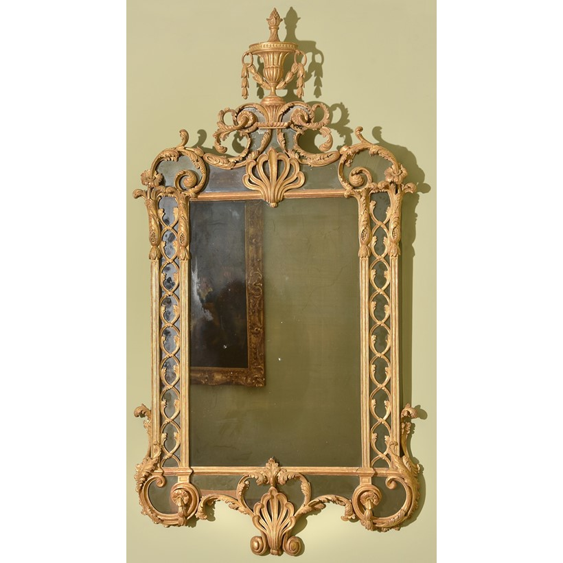 Inline Image - A George III carved gilt wood and gesso wall mirror, c. 1770, est. £15,000-25,000 (+fees)