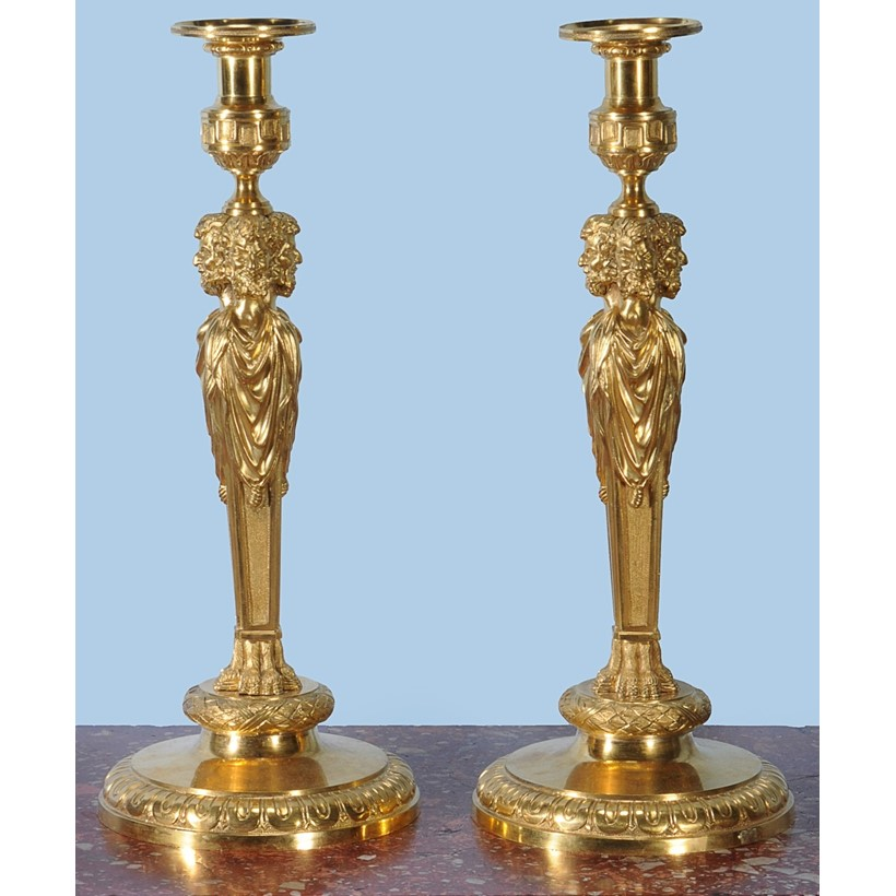 Inline Image - A pair of fine gilt bronze candlesticks, 19th century, est. £2,000-3,000 (+fees)