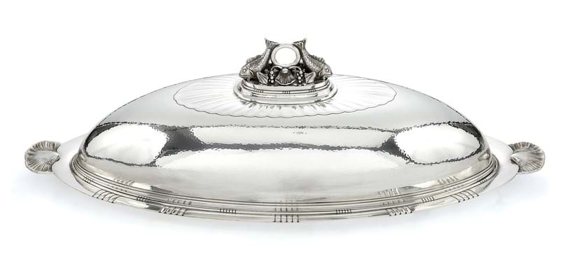 Inline Image - Lot 257, a Danish silver oval fish dish, drainer and cover,  post 1945, designed by Johan Rohde, 1919, est. £20,000-30,000 (+fees)