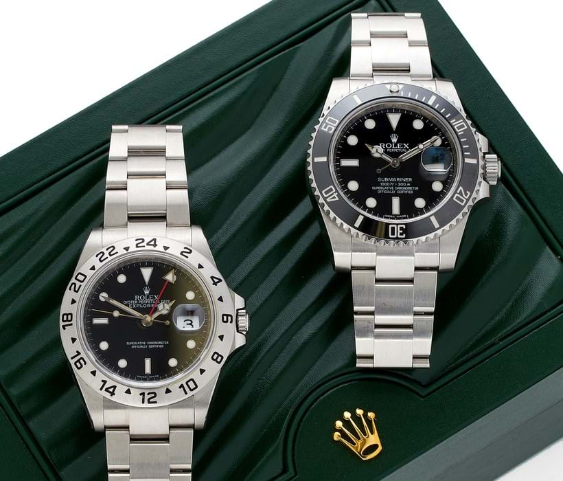 Inline Image - At auction, July 2018: Lot 45, (left), Rolex, Oyster Perpetual Date Explorer II, ref. 16570 T, a stainless steel bracelet wristwatch no. V796506, circa 2009; est. £2,500-3,500, sold for £3,968  Lots 44, (right), Rolex, Oyster Perpetual Submariner, ref. 116610LN, a stainless steel bracelet wristwatch no. 497SG789, circa 2011, automatic movement; est. £3,000-5,000, sold for £6,448