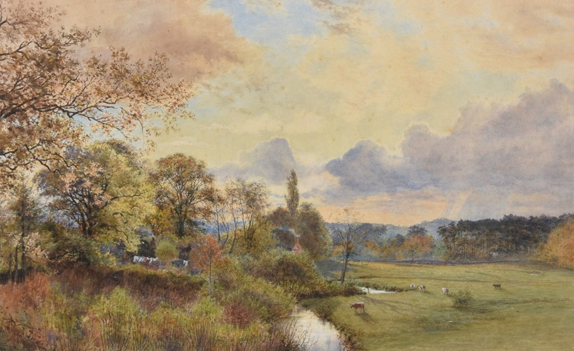Inline Image - William Henry Millais (British 1828-1899), 'River Wey, Millbridge', watercolour heightened with white; est. £800-1,200 (+fees)