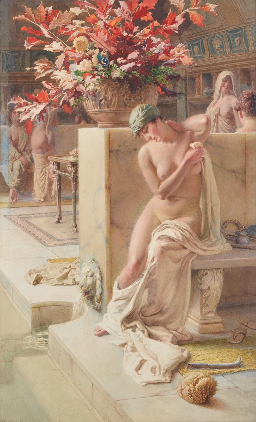 Inline Image - Fortunino Matania (Italian 1881-1963), 'At the baths', watercolour and pencil; est. £700-900 (+fees)
