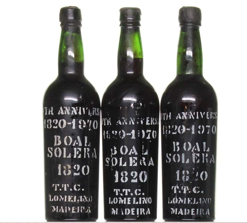 Inline Image - 1820-1970 Solera Bual Anniversary, Lomelino; bottle numbers 994, 1014, 1277, 1386, 2 unknown, 6 x 75cl; est. £3,000-4,000 (+fees)