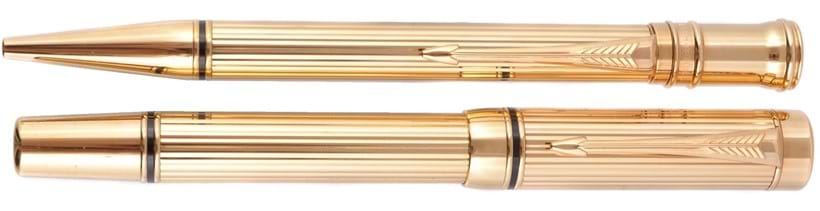 Inline Image - Parker, Duofold, a sample gilt metal fountain pen and roller ball pen; est. £1,000-1,500 (+fees)