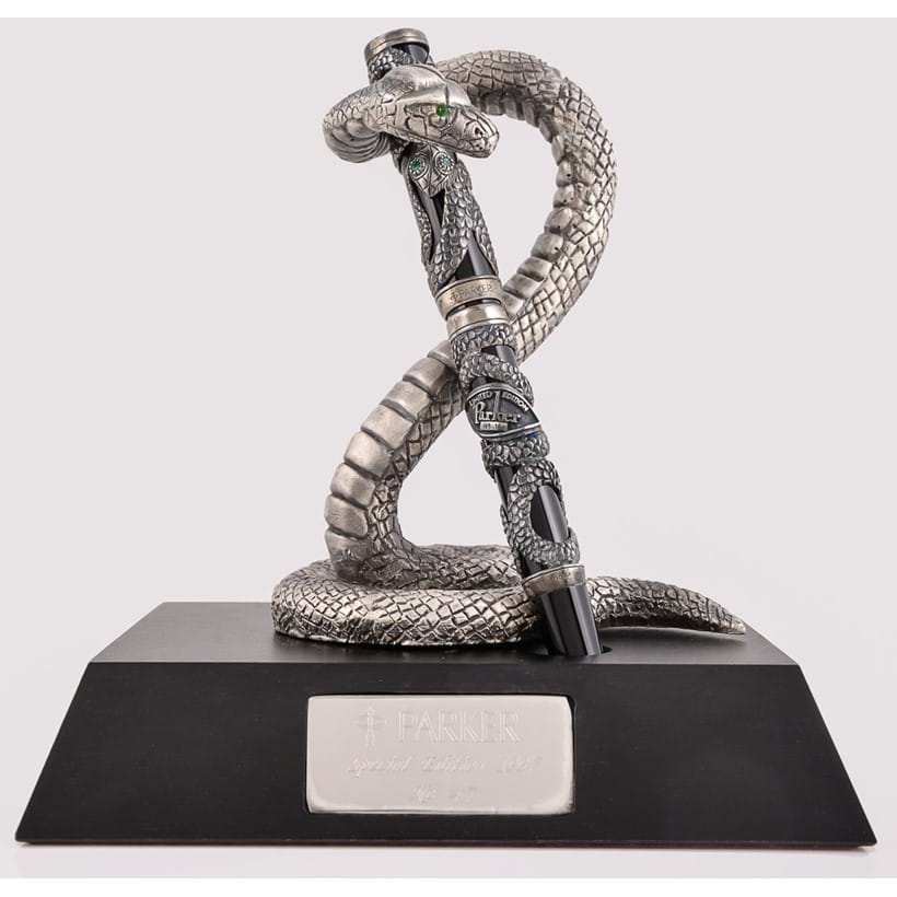 Inline Image - Parker, Snake, limited edition black acrylic and silver mounted fountain pen; est. £500-700 (+fees)  | Parker, Snake, a rare edition limited silver pen stand; est. £300-500 (+fees)