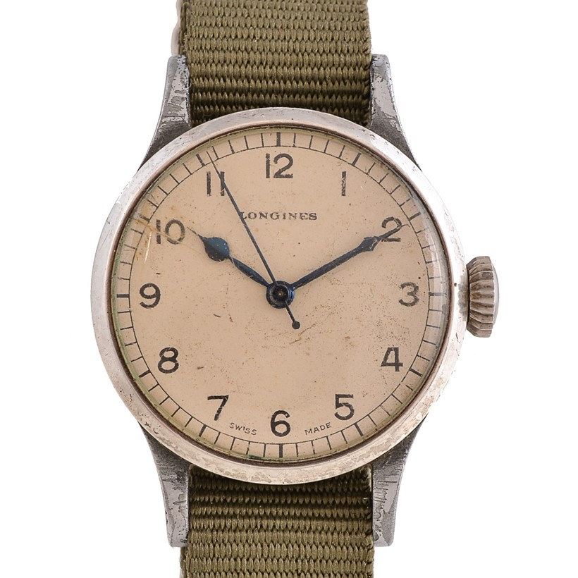 Inline Image - Lot 208, Longines, 6B/159, base metal military wrist watch,  no. A8030, circa 1940s; est. £500-700 (+fees)