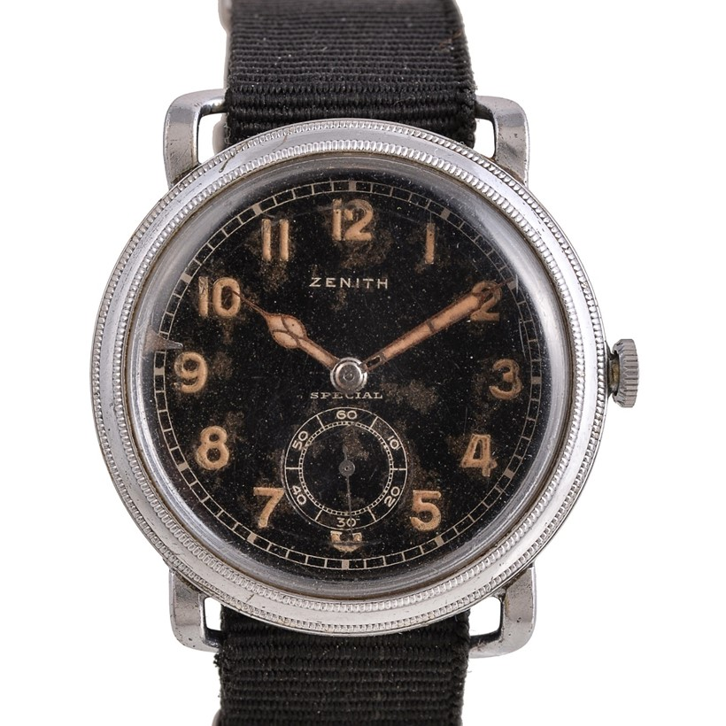 Inline Image - Lot 230, Zenith, Special, base metal Pilot's wrist watch,  no. 8211017, circa 1940s; est. £700-900 (+fees)