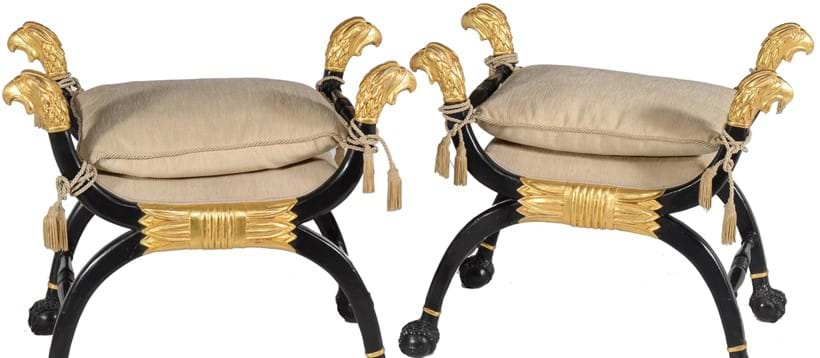 Inline Image - Lot 60, a pair of ebonised and parcel-gilt x-frame stools,  in Regency style, 20th century, Provenance: A Cheyne Walk Property; est. £500-700 (+fees)