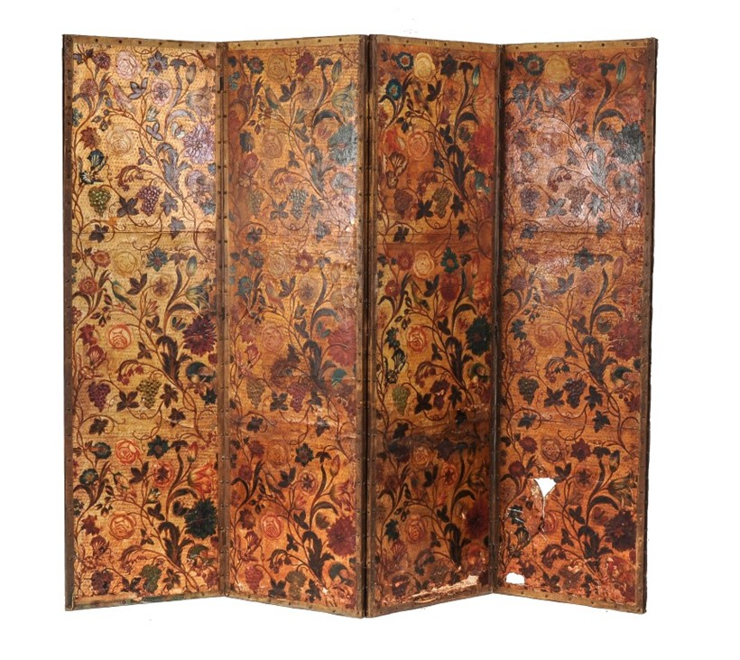 Inline Image - Lot 42, an embossed leather four fold screen, 17th century, Provenance: Kingstone Lisle Park; est. £400-600 (+fees)