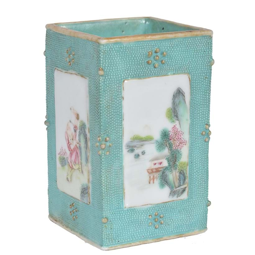 Inline Image - Lot 240, small Chinese Famille Rose turquoise-ground brush pot; est. £1,000-1,500 (+fees)