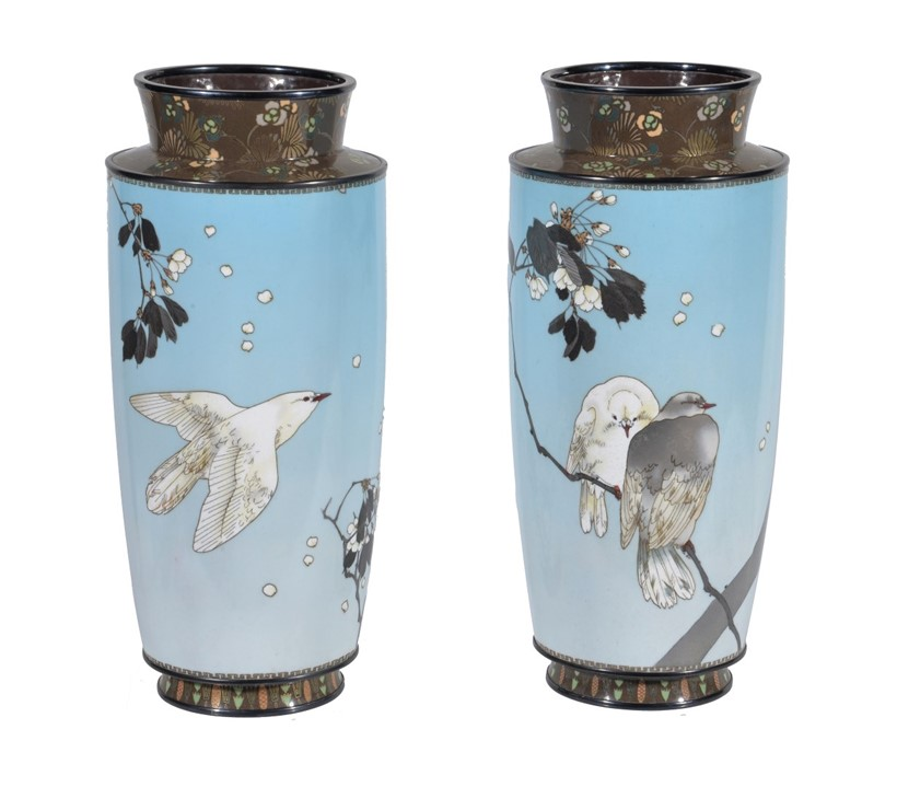 Inline Image - Lot 414, Manner of Namikawa Sosuke; a pair of Silver Wire Cloisonné Enamel Vases; est. £2,000-3,000, sold for £26,250