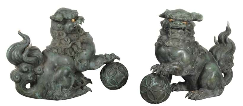 Inline Image - Lot 412, a Large Pair of Cast Bronze Shishi; est. £3,000-4,000, sold for £13,750