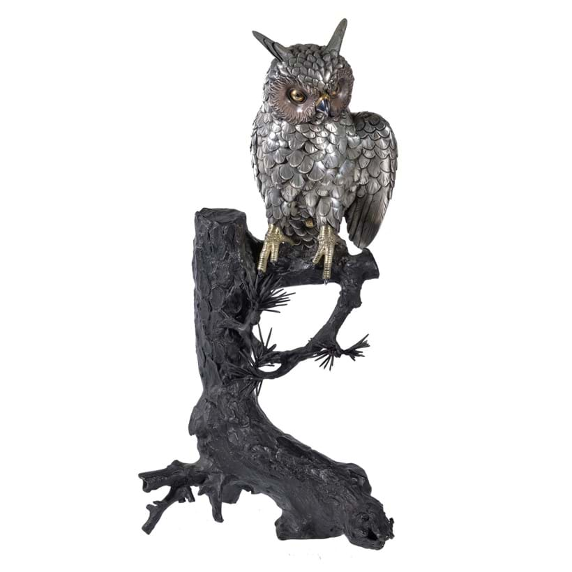 Inline Image - Lot 347, a Silvered Metal Model of an Owl; est. £6,000-8,000, sold for £11,250