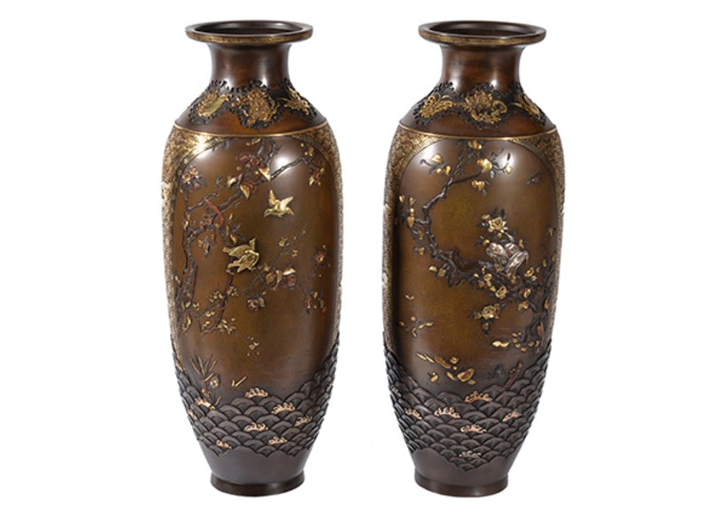 Inline Image - Lot 349, Miyabe Atsuyoshi: a Fine Pair of Bronze Vases; est. £8,000-12,000, sold for £9,375