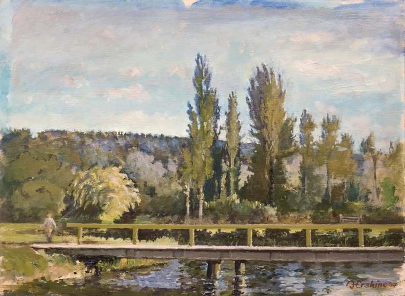 Inline Image - The River Test at Compton, signed and dated 17, oil on board, 29 x 39cm