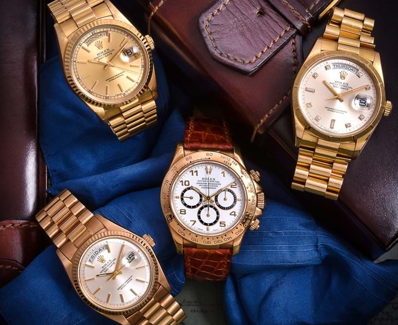 Inline Image - Left to right: Lot 266, Rolex Oyster Perpetual Day-Date, ref. 1803/8,  18ct. gold bracelet watch, no. 5106674, circa 1977  Est. £5,000-7,000 (+fees)  Lot 268, Rolex Oyster Perpetual Day-Date, ref. 18238,  18ct gold bracelet wristwatch, no. L930928, circa 1989; est. £5,000-7,000 (+fees) | Lot 259, Rolex Oyster Perpetual Cosmograph Daytona, ref. 16518, 18ct gold wrist watch, circa 1991; est. £7,000-9,000 (+fees) | Lot 267, Rolex Oyster Perpetual Day-Date, ref. 18048, 18ct gold bracelet wristwatch, no. 9588320, circa 1987; est. £5,000-7,000 (+fees)
